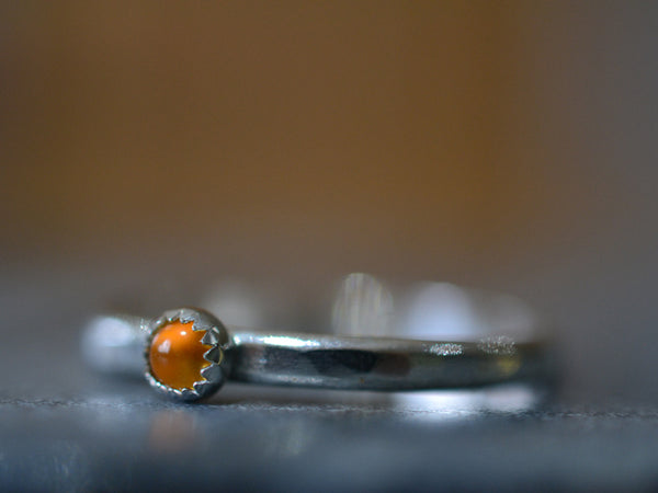 Personalised Sterling Silver Stack Ring with 3mm Citrine