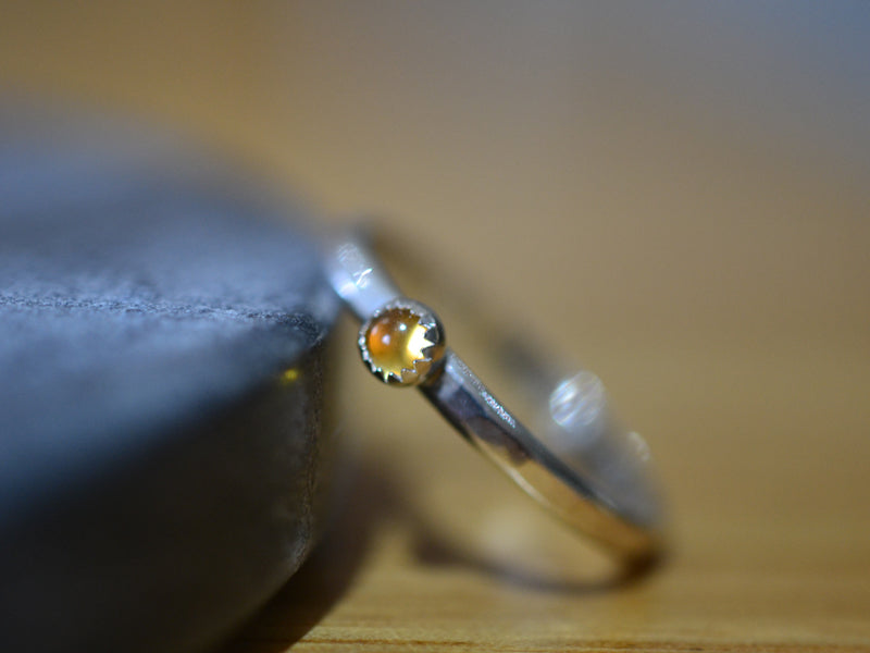 Tiny Citrine Stack Ring in Sterling Silver