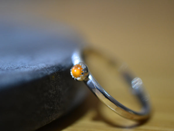 3mm Citrine Ring in Sterling Silver