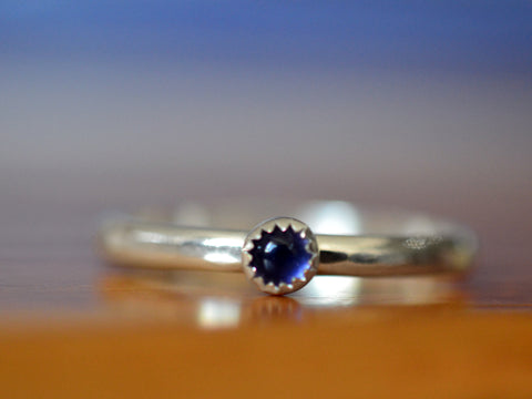 Handmade Sterling Silver Tiny Iolite Ring