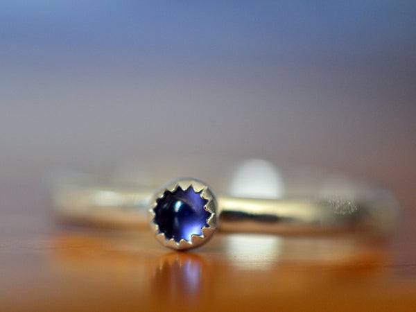Tiny 3mm Iolite Stacking Ring in Sterling Silver