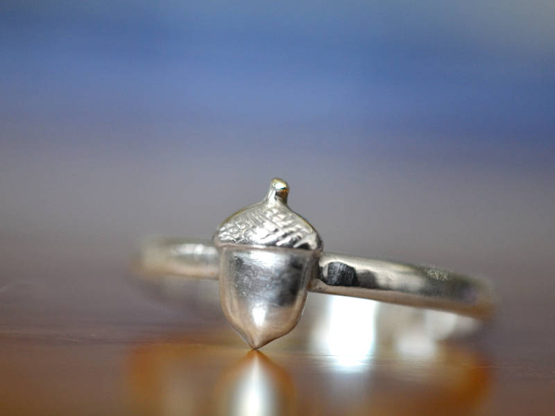 Sterling Silver Acorn Charm Ring