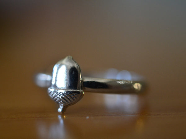 Personalised Sterling Silver Acorn Ring