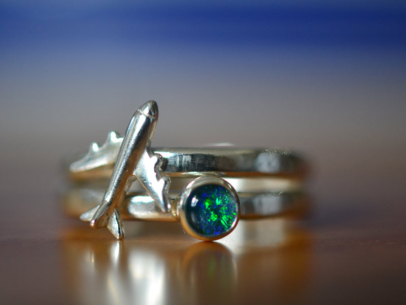 Sterling Silver Airplane & Opal Triplet Stacking Ring Set