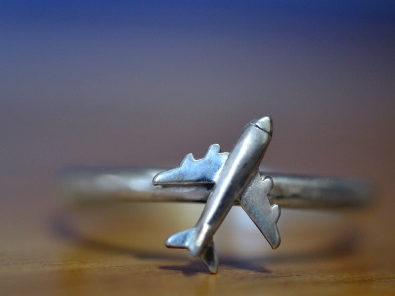 Personalised Sterling Silver Air Plane Ring