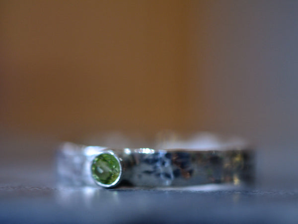 Customised Sterling Silver 3mm Peridot Ring