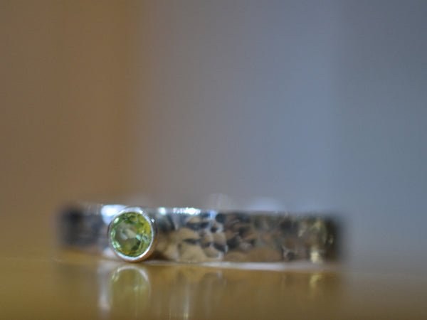 Personalised Peridot Ring in Sterling Silver