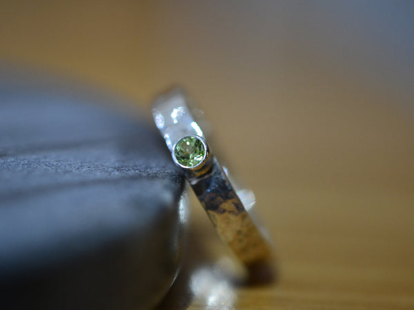 Rustic Sterling Silver & Peridot Promise Ring