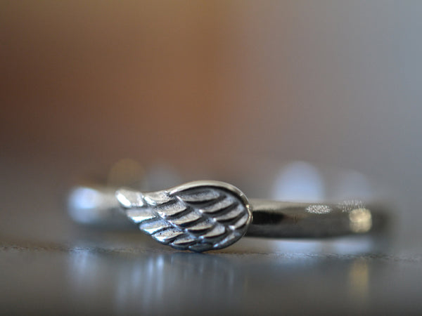 Personalised Sterling Silver Angel Wing Ring