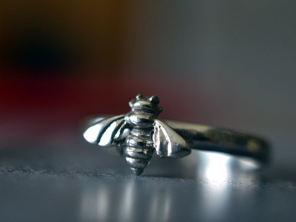 Sterling Silver Honey Bee Ring with Engraving