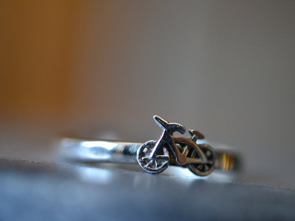 Custom Engraved Sterling Silver Push Bike Ring