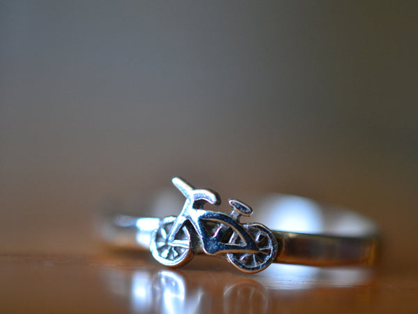 Handmade Sterling Silver Bicycle Charm Ring