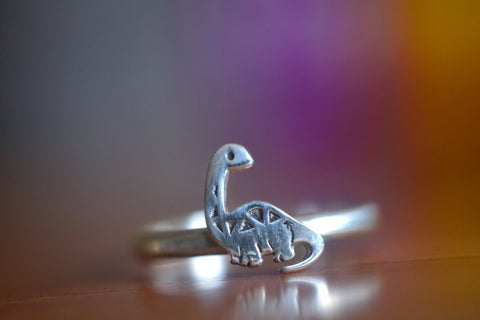 Sterling Silver Brontosaurus Ring With Hammered Band