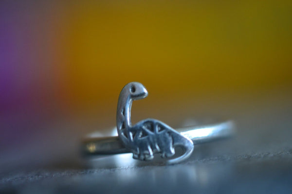 Engravable Sterling Silver Cute Dinosaur Charm Ring