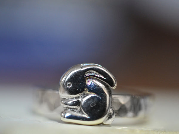 Customised Sterling Silver Rabbit Charm Ring