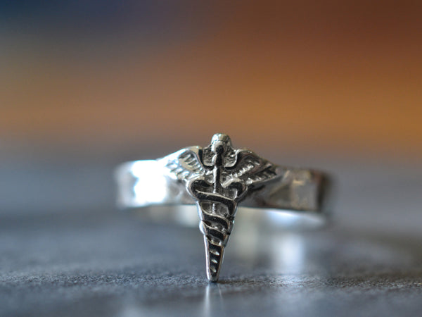 Sterling Silver Caduceus Charm Ring