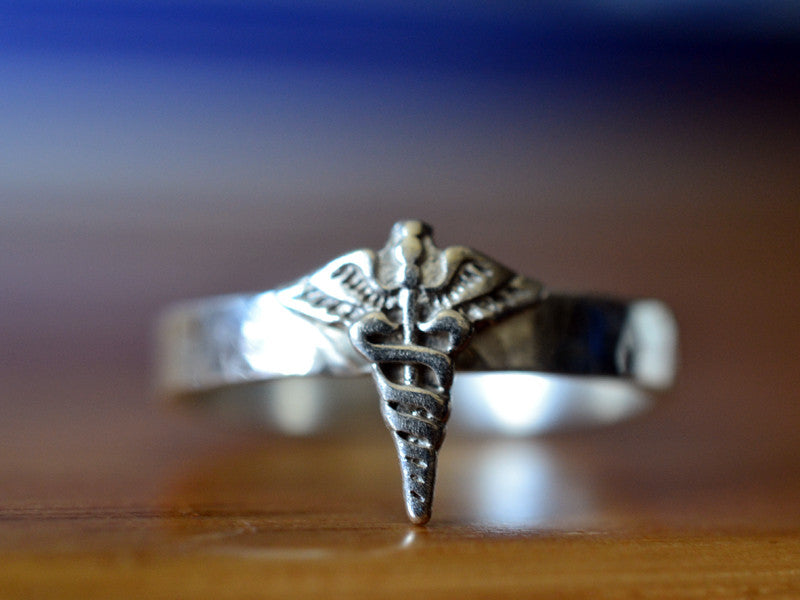 Handmade Sterling Silver Caduceus of Mercury Ring