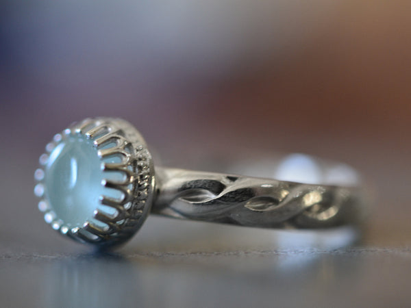 Celtic Style Aquamarine Engagement Ring in Sterling Silver