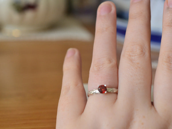 Handmade Sterling Silver Celtic Style Garnet Engagement Ring
