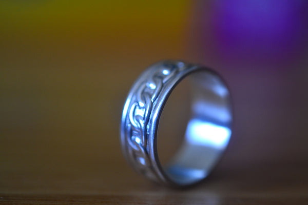 Wide Sterling Silver Chain Patterned Wedding Band For Man