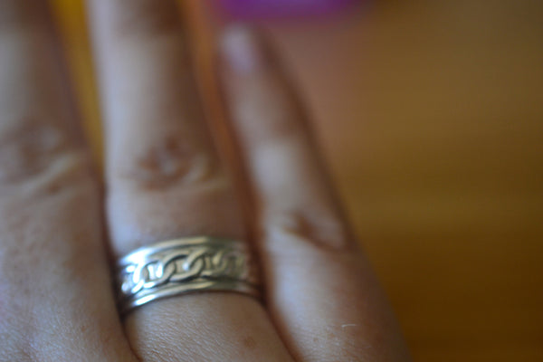 Engravable Sterling Silver Chain Texture Ring For Man