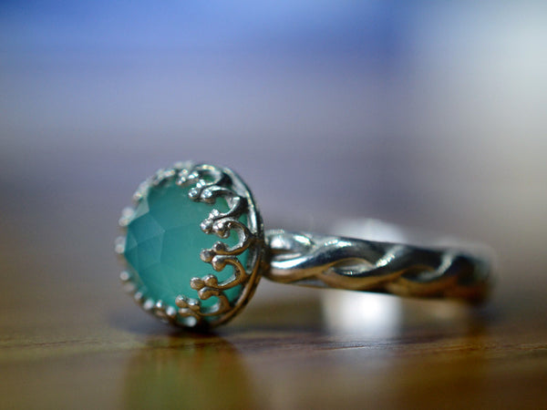 Handmade Sterling Silver Celtic Style Peruvian Blue Opal Ring