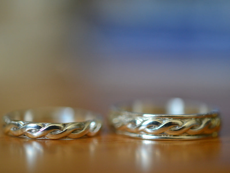 Handmade Sterling Silver Celtic Wedding Band Set