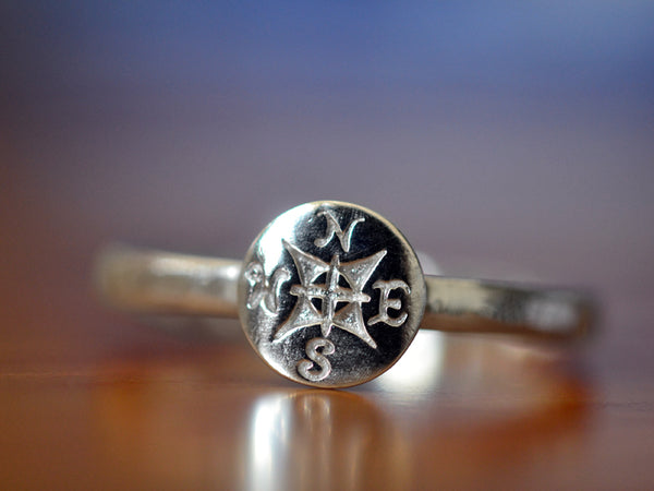 Personalised Sterling Silver Compass Charm Ring