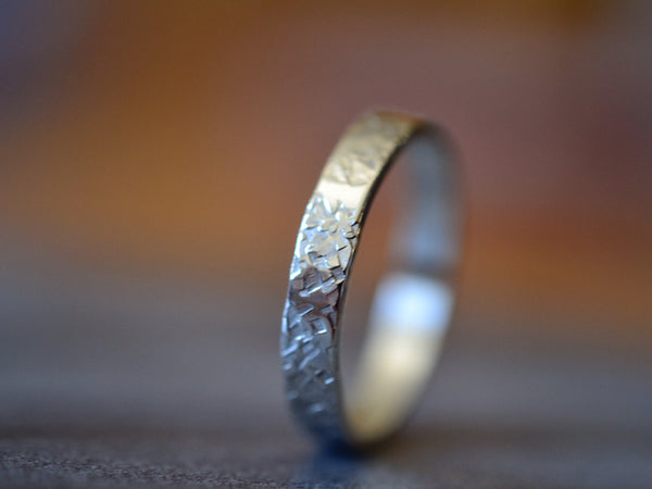 Sterling Silver Concrete Textured Wedding Band
