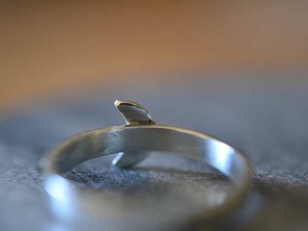 Sterling Silver Crescent Moon Ring With Hammered Band