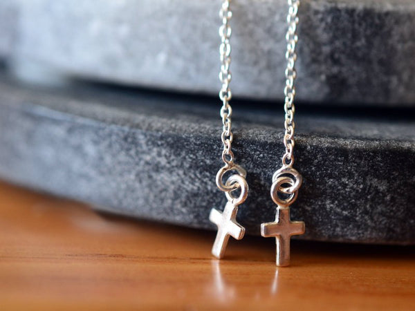 Dainty Little Cross Threader Earrings in Sterling Silver