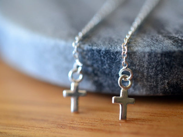 Lightweight Minimalist Earring Threaders With Silver Cross Charms