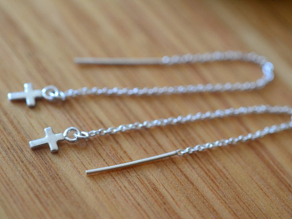 Women's Minimalist Sterling Silver Cross Ear Threads