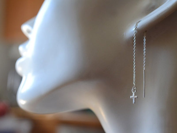 Tiny Cross Ear Threaders In Sterling Silver