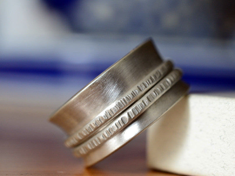 Handforged Sterling Silver Double Band Spinning Ring