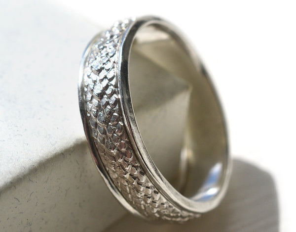 Handmade Sterling Silver Dragon Scale Wedding Band