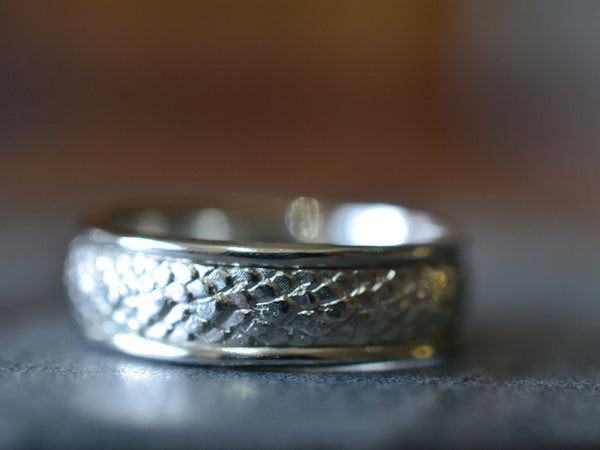 Sterling Silver Dragon Scale Wedding Band