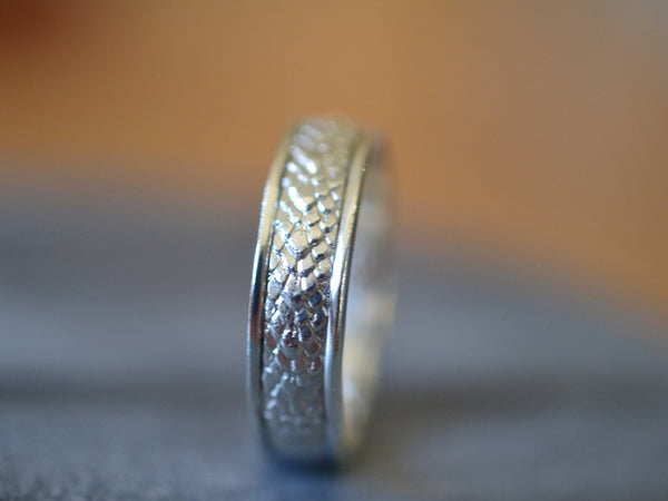 Customised Sterling Silver Dragon Scale Wedding Ring
