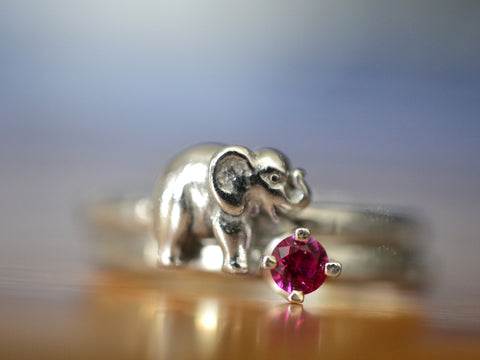 Handmade Sterling Silver Elephant & Ruby Stacking Ring Set