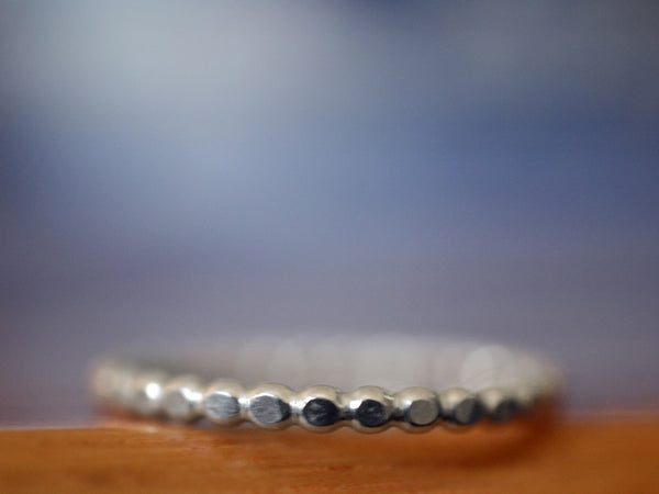 Handmade Sterling Silver Beaded Stacking Ring