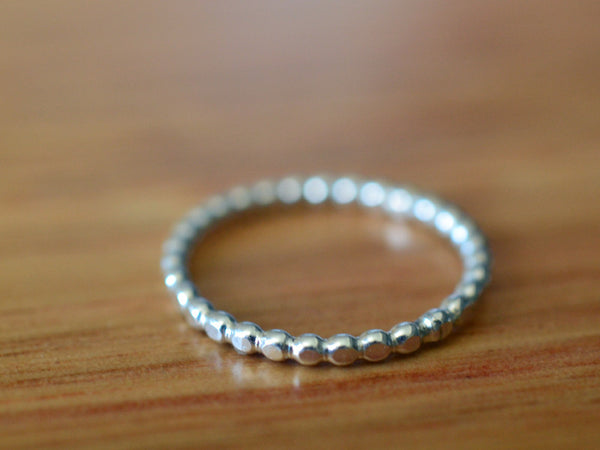 Handmade Sterling Silver Beaded Stack Ring
