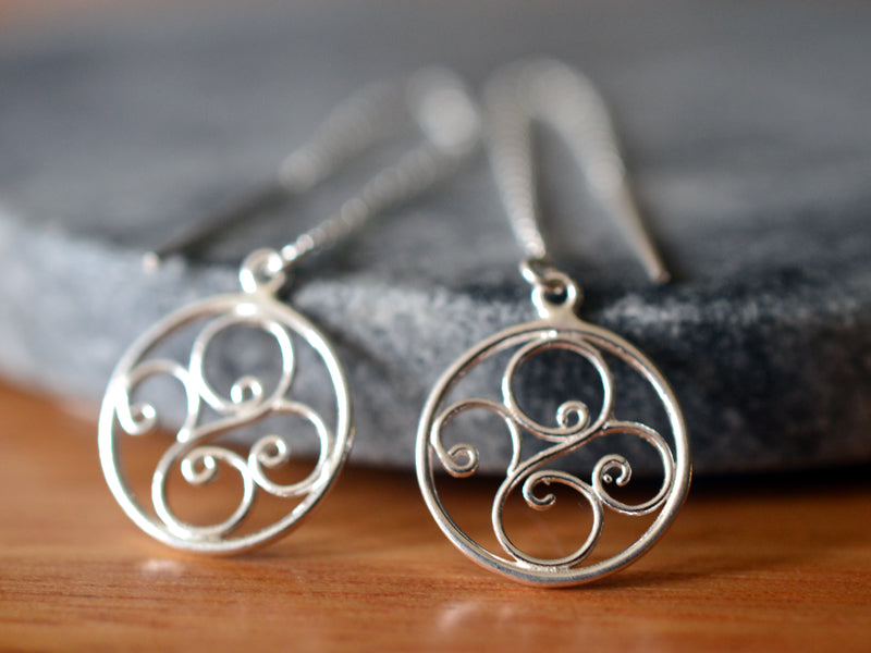 Sterling Silver Filigree Swirl Ear Threads