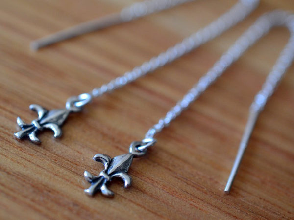 Minimalist Sterling Silver Fleur De Lys Threader Earrings