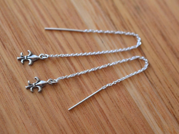 Dainty Sterling Silver Fleur De Lys Ear Threads