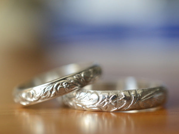 Handmade Sterling Silver Floral Renaissance Style Wedding Band Set