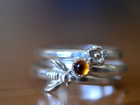 Silver Bee Flower & Citrine Stacking Ring Set of Three