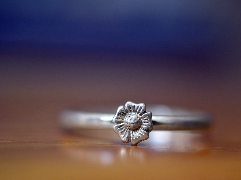 Handmade Sterling Silver Flower Charm Ring