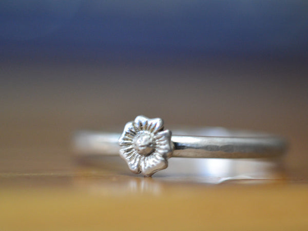 Handmade Sterling Silver Flower Stack Ring