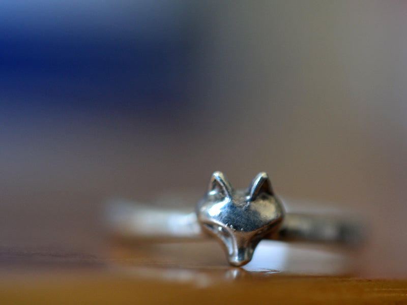 Handmade Sterling Silver Fox Charm Ring