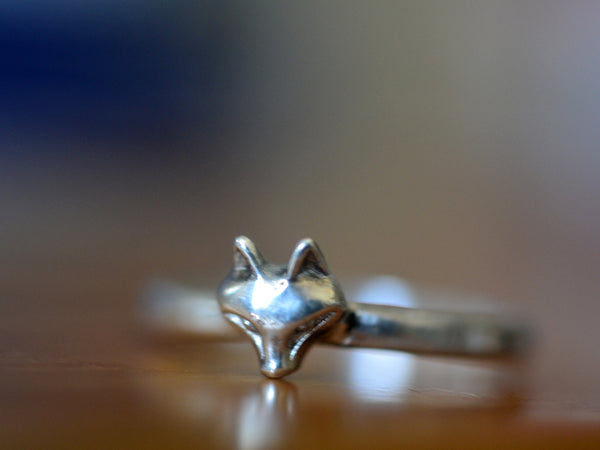 Personalised Sterling Silver Fox Ring